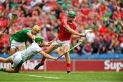 29 July 2018; Séamus Harnedy of Cork has a shot on goal, late in the second half, saved by Limerick goalkeeper Nickie Quaid, as Dan Morrissey, behind, closes in during the GAA Hurling All-Ireland Senior Championship semi-final match between Cork and Limerick at Croke Park in Dublin. Photo by Piaras Ó Mídheach/Sportsfile