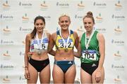 29 July 2018; Senior Women 100mH, medallists, from left, Kate Doherty of Dundrum South Dublin A.C., Co. Dublin, silver, Sarah Lavin of U.C.D. A.C., Co. Dublin, gold, and Elizabeth Morland of Cushinstown A.C., Co. Meath, bronze, during the Irish Life Health National Senior T&F Championships Day 2 at Morton Stadium in Santry, Dublin. Photo by Sam Barnes/Sportsfile