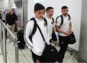 31 July 2018; Jamie McGrath, left, Michael Duffy, centre, and Dean Jarvis of Dundalk on their arrival at Larnaca International Airport in Cyprus. Photo by Stephen McCarthy/Sportsfile