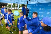 1 August 2018; Leinster players Tadhg Furlong, left, and James Lowe signing autographs during the Bank of Ireland Leinster Rugby Summer Camp at Gorey RFC in Wexford. Photo by Eóin Noonan/Sportsfile