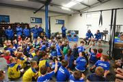 1 August 2018; Leinster players Tadhg Furlong, right, and James Lowe during a Q&A at the Bank of Ireland Leinster Rugby Summer Camp at Gorey RFC in Wexford. Photo by Eóin Noonan/Sportsfile