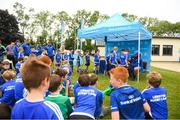 1 August 2018; Leinster players Tadhg Furlong, right, and James Lowe signing autographs during the Bank of Ireland Leinster Rugby Summer Camp at Gorey RFC in Wexford. Photo by Eóin Noonan/Sportsfile