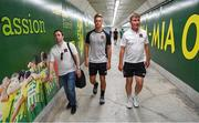 1 August 2018; Dundalk manager Stephen Kenny and Daniel Cleary, accompanied by media officer Darren Crawley, left, make their way to a press conference at the AEK Arena in Larnaca, Cyprus. Photo by Stephen McCarthy/Sportsfile
