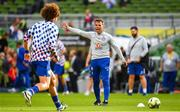1 August 2018; Chelsea Assistant coach Gianfranco Zola leads the warm up prior to the International Champions Cup match between Arsenal and Chelsea at the Aviva Stadium in Dublin.  Photo by Sam Barnes/Sportsfile