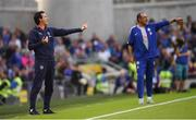 1 August 2018; Arsenal manager Unai Emery, left, and Chelsea manager Maurizio Sarri during the International Champions Cup match between Arsenal and Chelsea at the Aviva Stadium in Dublin. Photo by Ramsey Cardy/Sportsfile