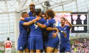 1 August 2018; Chelsea players celebrate after Antonio Rüdiger scored their side's first goal of the game during the International Champions Cup match between Arsenal and Chelsea at the Aviva Stadium in Dublin. Photo by Ramsey Cardy/Sportsfile