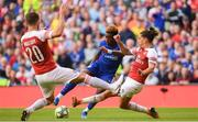 1 August 2018; Callum Hudson-Odoi of Chelsea is fouled in the box by Héctor Bellerín of Arsenal leading to a missed penalty by Álvaro Morata during the International Champions Cup match between Arsenal and Chelsea at the Aviva Stadium in Dublin. Photo by Ramsey Cardy/Sportsfile