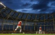 1 August 2018; Mesut Özil of Arsenal takes a free kick during the International Champions Cup match between Arsenal and Chelsea at the Aviva Stadium in Dublin. Photo by Ramsey Cardy/Sportsfile
