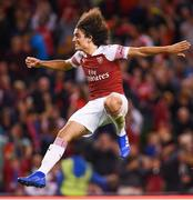 1 August 2018; Mattéo Guendouzi of Arsenal celebrates his side's victory following a penalty shoot-out in the International Champions Cup match between Arsenal and Chelsea at the Aviva Stadium in Dublin. Photo by Ramsey Cardy/Sportsfile