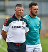 14 July 2018; Mayo manager Peter Leahy, left, with selector Cian Breathnach before the TG4 All-Ireland Ladies Football Senior Championship Group 4 Round 1 match between Cavan and Mayo at St Tiernach's Park, in Clones, Monaghan. Photo by Oliver McVeigh/Sportsfile