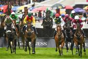 2 August 2018; Minella Beau, centre, with Ruby Walsh up, jumps the eighth on their way to winning the Guinness Beginners Steeplechase during the Galway Races Summer Festival 2018, in Ballybrit, Galway. Photo by Seb Daly/Sportsfile