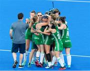 2 August 2018; Ireland head coach Graham Shaw celebrates with Ireland players after the Women's Hockey World Cup Finals Quarter-Final match between Ireland and India at the Lee Valley Hockey Centre in QE Olympic Park, London, England. Photo by Craig Mercer/Sportsfile