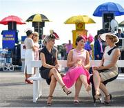 3 August 2018; Racegoers, from left, Aisling Larkin, Aideen Cunningham, and Aoife Larkin, all from Galway, prior to racing at the Galway Races Summer Festival 2018 in Ballybrit, Galway. Photo by Seb Daly/Sportsfile