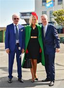 3 August 2018; FAI Chief Executive John Delaney, right, with his partner Emma English, and her father Willie Kevlin, arrive prior to racing at the Galway Races Summer Festival 2018 in Ballybrit, Galway. Photo by Seb Daly/Sportsfile