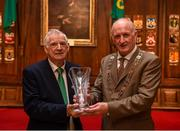 3 August 2018; Liverpool legends Ian Rush, Robbie Fowler and Jason McAteer visit Lord Mayor Nial Ring at Dublin's Mansion House to promote the Liverpool v Napoli game in Aviva Stadium on Saturday, August 4. Pictured is FAI presenting a piece of Galway crystal to Dublin Lord Mayor Nial Ring at the Liverpool Ambassadors visit to Dublin Lord Mayor at the Mansion House in Dublin. Photo by Eóin Noonan/Sportsfile