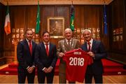 3 August 2018; Liverpool legends Ian Rush, Robbie Fowler and Jason McAteer visit Lord Mayor Nial Ring at Dublin's Mansion House to promote the Liverpool v Napoli game in Aviva Stadium on Saturday, August 4. Pictured is Dublin Lord Mayor Nial Ring being presented with a jersey by Ian Rush, alongside Jason McAteer and Robbie Fowler at the Liverpool Ambassadors visit to Dublin Lord Mayor at the Mansion House in Dublin. Photo by Eóin Noonan/Sportsfile