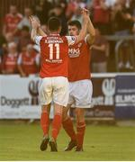 3 August 2018; Ryan Brennan of St Patrick's Athletic celebrates with team-mate Lee Desmond after he scored their his sdie's first goal during the SSE Airtricity League Premier Division match between St Patrick's Athletic and Bray Wanderers at Richmond Park in Dublin. Photo by Matt Browne/Sportsfile