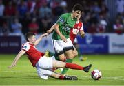 3 August 2018; Darragh Noone of Bray Wanderers in action against James Doona of St Patrick's Athletic during the SSE Airtricity League Premier Division match between St Patrick's Athletic and Bray Wanderers at Richmond Park in Dublin. Photo by Matt Browne/Sportsfile