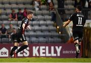 3 August 2018; Danny Grant of Bohemians celebrates scoring his side's fourth goal with team mate Kevin Devaney, right, during the SSE Airtricity League Premier Division match between Bohemians and Limerick at Dalymount Park in Dublin. Photo by Piaras Ó Mídheach/Sportsfile