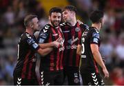 3 August 2018; Danny Grant of Bohemians, second from right, celebrates scoring his side's fourth goal with team mates, from left, Keith Ward, Kevin Devaney, and Keith Buckley during the SSE Airtricity League Premier Division match between Bohemians and Limerick at Dalymount Park in Dublin. Photo by Piaras Ó Mídheach/Sportsfile