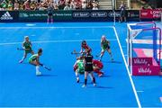 4 August 2018; Anna O'Flanagan of Ireland scores the opening goal, from a penalty corner, during the Women's Hockey World Cup Finals semi-final match between Ireland and Spain at the Lee Valley Hockey Centre in QE Olympic Park, London, England. Photo by Craig Mercer/Sportsfile