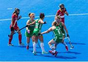 4 August 2018; Anna O'Flanagan of Ireland celebrates with team mates after scoring the opening goal from a penalty corner during the Women's Hockey World Cup Finals semi-final match between Ireland and Spain at the Lee Valley Hockey Centre in QE Olympic Park, London, England. Photo by Craig Mercer/Sportsfile