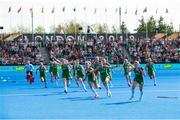 4 August 2018; Ireland players celebrate their victory after a sudden death penalty shootout during the Women's Hockey World Cup Finals semi-final match between Ireland and Spain at the Lee Valley Hockey Centre in QE Olympic Park, London, England. Photo by Craig Mercer/Sportsfile