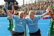4 August 2018; Ireland goalkeepers Ayeisha McFerran, left, and Grace O'Flanagan celebrate after the Women's Hockey World Cup Finals semi-final match between Ireland and Spain at the Lee Valley Hockey Centre in QE Olympic Park, London, England. Photo by Craig Mercer/Sportsfile