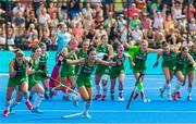 4 August 2018; Anna O'Flanagan of Ireland, center, celebrates victory with team-mates after a sudden death penalty shootout during the Women's Hockey World Cup Finals semi-final match between Ireland and Spain at the Lee Valley Hockey Centre in QE Olympic Park, London, England. Photo by Craig Mercer/Sportsfile