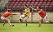 4 August 2018; Sarah Jane McDonald of Donegal in action against Caroline O'Hanlon, left, and Sarah Marley of Armagh during the TG4 All-Ireland Ladies Football Senior Championship quarter-final match between Armagh and Donegal at Healy Park in Omagh, Tyrone. Photo by Oliver McVeigh/Sportsfile
