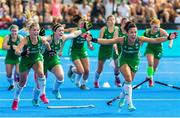 4 August 2018; Chloe Watkins, left, and Anna O'Flanagan of Ireland celebrates victory with team-mates after a sudden death penalty shootout during the Women's Hockey World Cup Finals semi-final match between Ireland and Spain at the Lee Valley Hockey Centre in QE Olympic Park, London, England. Photo by Craig Mercer/Sportsfile