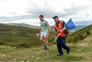 4 August 2018; Eoin Murphy of Kilkenny, with his scorekeeper Lester Ryan, during the 2018 M Donnelly GAA All-Ireland Poc Fada Finals in the Annaverna Mountain, Ravensdale, Co Louth. Photo by Piaras Ó Mídheach/Sportsfile