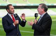 4 August 2018; Former Liverpool and Republic of Ireland internationals Jason McAteer, left, and Ronnie Whelan during the Pre Season Friendly match between Liverpool and Napoli at the Aviva Stadium in Dublin. Photo by Stephen McCarthy/Sportsfile