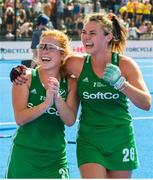 4 August 2018; Zoe Wilson, left, and Deirdre Duke of Ireland celebrate during a victory lap after the Women's Hockey World Cup Finals semi-final match between Ireland and Spain at the Lee Valley Hockey Centre in QE Olympic Park, London, England. Photo by Craig Mercer/Sportsfile
