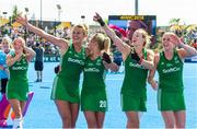 4 August 2018; Ireland players from left, Nicola Evans, Chloe Watkins, Megan Frazer and Kathryn Mullen celebrate on their victory lap after the Women's Hockey World Cup Finals semi-final match between Ireland and Spain at the Lee Valley Hockey Centre in QE Olympic Park, London, England. Photo by Craig Mercer/Sportsfile