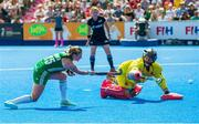 4 August 2018; Gillian Pinder of Ireland scores her side's opening penalty in the shootout past Maria Ruiz of Spain during the Women's Hockey World Cup Finals semi-final match between Ireland and Spain at the Lee Valley Hockey Centre in QE Olympic Park, London, England. Photo by Craig Mercer/Sportsfile