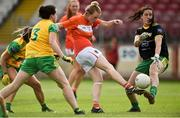 4 August 2018; Shauna Grey of Armagh has her shot saved by Laura Gallagher of Donegal during the TG4 All-Ireland Ladies Football Senior Championship quarter-final match between Armagh and Donegal at Healy Park in Omagh, Tyrone. Photo by Oliver McVeigh/Sportsfile