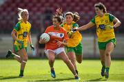 4 August 2018; Aimee Mackin of Armagh in action against Donegal players, from left, Treesa Doherty, Ciara Gallagher and Emer Gallagher during the TG4 All-Ireland Ladies Football Senior Championship quarter-final match between Armagh and Donegal at Healy Park in Omagh, Tyrone. Photo by Oliver McVeigh/Sportsfile