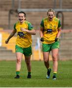 4 August 2018; Geraldine McLaughlin and Yvonne Bonner of Donegal celebrate after the TG4 All-Ireland Ladies Football Senior Championship quarter-final match between Armagh and Donegal at Healy Park in Omagh, Tyrone. Photo by Oliver McVeigh/Sportsfile