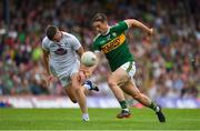 4 August 2018; Stephen O'Brien of Kerry in action against Johnny Byrne of Kildare during the GAA Football All-Ireland Senior Championship Quarter-Final Group 1 Phase 3 match between Kerry and Kildare at Fitzgerald Stadium in Killarney, Kerry. Photo by Brendan Moran/Sportsfile