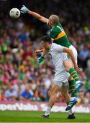 4 August 2018; Kieran Donaghy of Kerry in action against Mick O'Grady of Kildare during the GAA Football All-Ireland Senior Championship Quarter-Final Group 1 Phase 3 match between Kerry and Kildare at Fitzgerald Stadium in Killarney, Kerry. Photo by Brendan Moran/Sportsfile