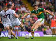 4 August 2018; David Clifford of Kerry has a shot on goal despite the efforts of Peter Kelly and Kevin Flynn of Kildare during the GAA Football All-Ireland Senior Championship Quarter-Final Group 1 Phase 3 match between Kerry and Kildare at Fitzgerald Stadium in Killarney, Kerry. Photo by Brendan Moran/Sportsfile