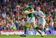 4 August 2018; David Moran of Kerry is tackled by Kevin Flynn of Kildare during the GAA Football All-Ireland Senior Championship Quarter-Final Group 1 Phase 3 match between Kerry and Kildare at Fitzgerald Stadium in Killarney, Kerry. Photo by Brendan Moran/Sportsfile