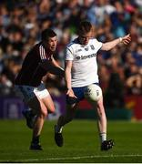 4 August 2018; Ryan McAnespie of Monaghan in action against Gareth Bradshaw of Galway during the GAA Football All-Ireland Senior Championship Quarter-Final Group 1 Phase 3 match between Galway and Monaghan at Pearse Stadium in Galway. Photo by Diarmuid Greene/Sportsfile