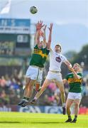 4 August 2018; Gavin White and David Moran of Kerry contest a high ball with Kevin Feely of Kildare during the GAA Football All-Ireland Senior Championship Quarter-Final Group 1 Phase 3 match between Kerry and Kildare at Fitzgerald Stadium in Killarney, Kerry. Photo by Brendan Moran/Sportsfile