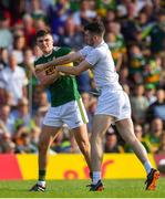 4 August 2018; Kevin Flynn of Kildare in a confrontation with Seán O'Shea of Kerry during the GAA Football All-Ireland Senior Championship Quarter-Final Group 1 Phase 3 match between Kerry and Kildare at Fitzgerald Stadium in Killarney, Kerry. Photo by Brendan Moran/Sportsfile