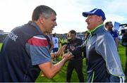 4 August 2018; Galway manager Kevin Walsh, left, shakes hands with Monaghan manager Malachy O'Rourke following the GAA Football All-Ireland Senior Championship Quarter-Final Group 1 Phase 3 match between Galway and Monaghan at Pearse Stadium in Galway. Photo by Ramsey Cardy/Sportsfile