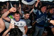 4 August 2018; Niall Kearns of Monaghan celebrates with supporters after the GAA Football All-Ireland Senior Championship Quarter-Final Group 1 Phase 3 match between Galway and Monaghan at Pearse Stadium in Galway. Photo by Diarmuid Greene/Sportsfile