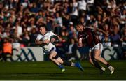 4 August 2018; Karl O'Connell of Monaghan in action against Padraic Cunningham of Galway during the GAA Football All-Ireland Senior Championship Quarter-Final Group 1 Phase 3 match between Galway and Monaghan at Pearse Stadium in Galway. Photo by Diarmuid Greene/Sportsfile