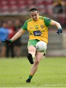 4 August 2018; Geraldine McLaughlin of Donegal scoring a point during the TG4 All-Ireland Ladies Football Senior Championship quarter-final match between Armagh and Donegal at Healy Park in Omagh, Tyrone. Photo by Oliver McVeigh/Sportsfile
